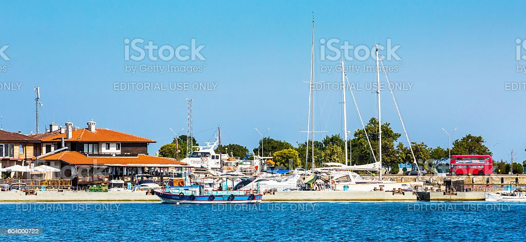 Port and ships panorama in Nessebar in Bulgaria stock photo