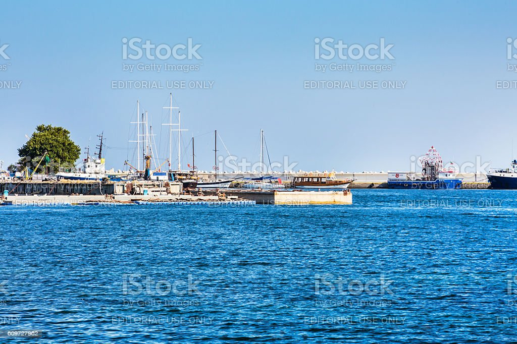 Port and ships view in Nessebar in Bulgaria stock photo
