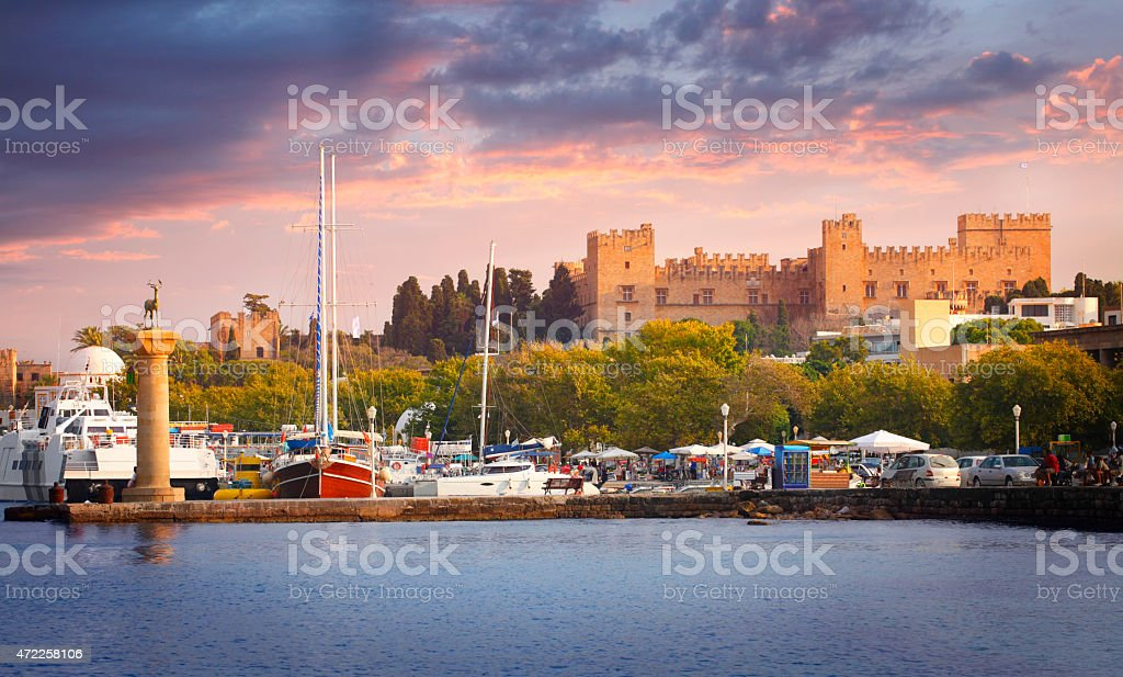 Port and the fortress in the city of Rhodes stock photo