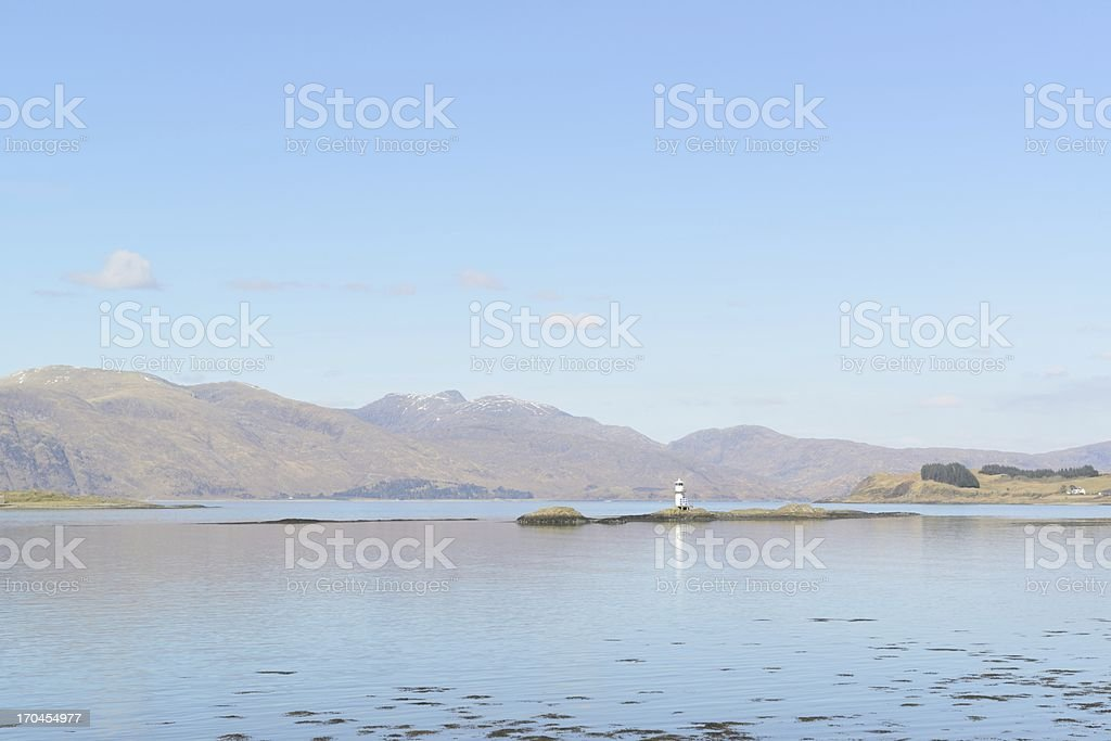 Port Appin Lighthouse and Loch Linnhe stock photo