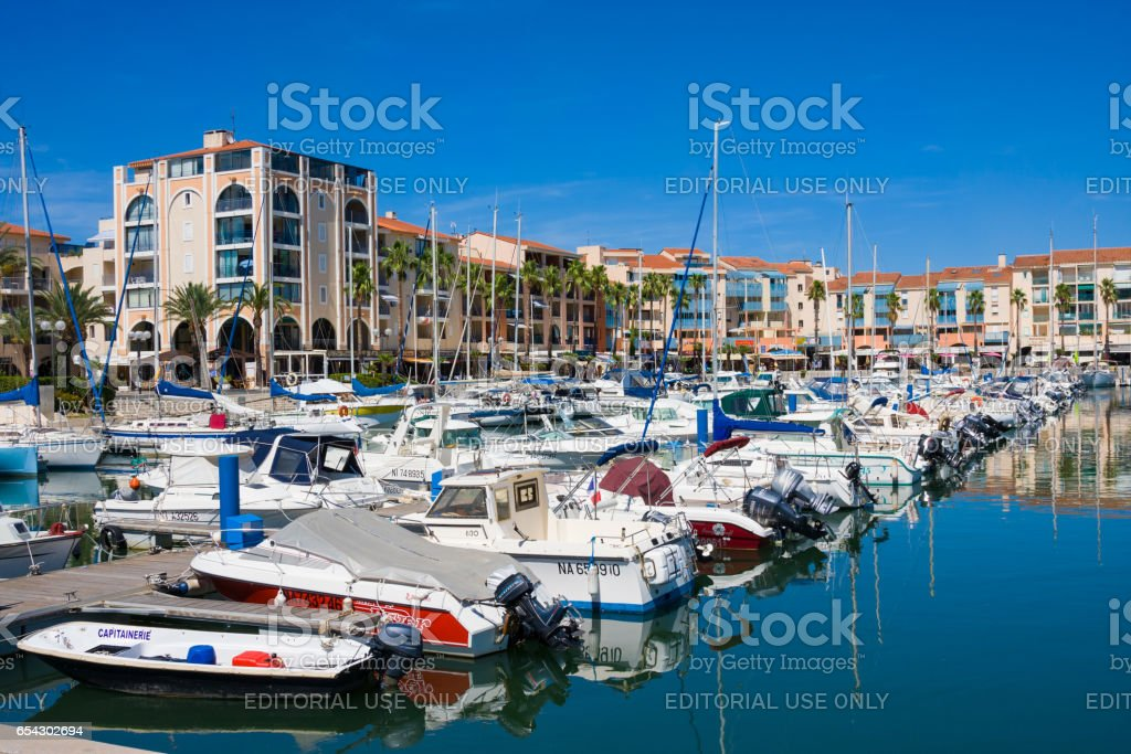 Port Argeles-sur-Mer in Pyrenees-Orientales department, Languedoc-Roussillon region, in southern France stock photo