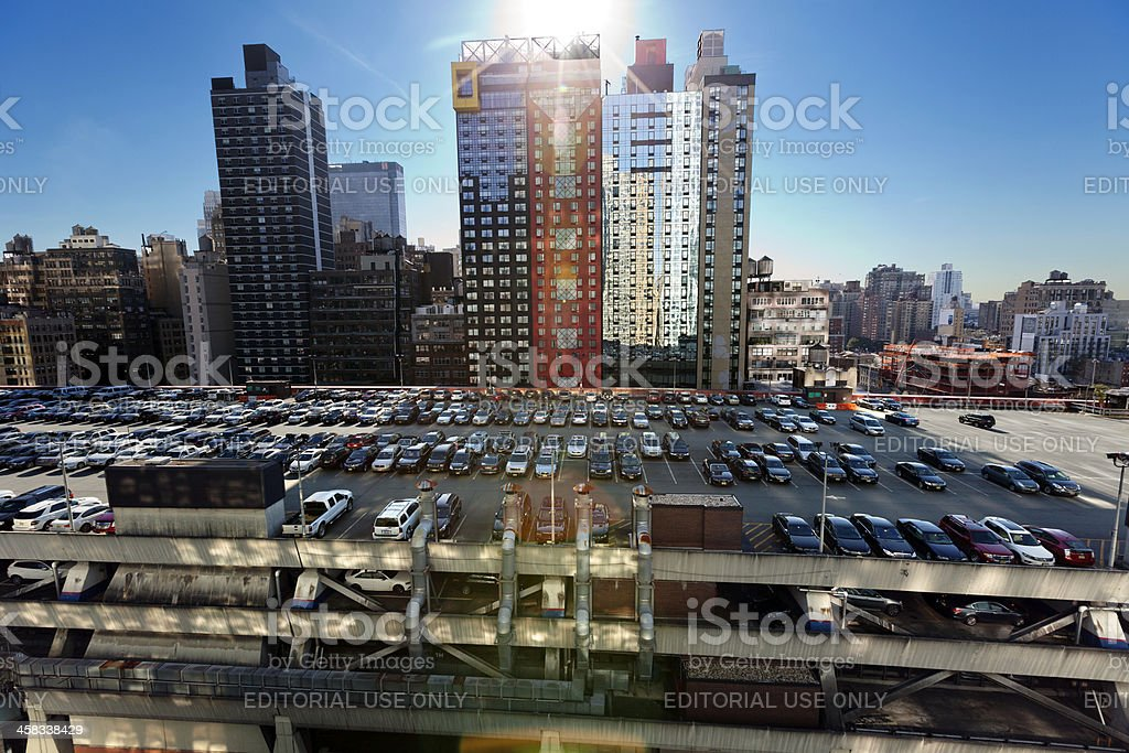 Port Authority Rooftop Parking and Skyscrapers Manhattan New York stock photo