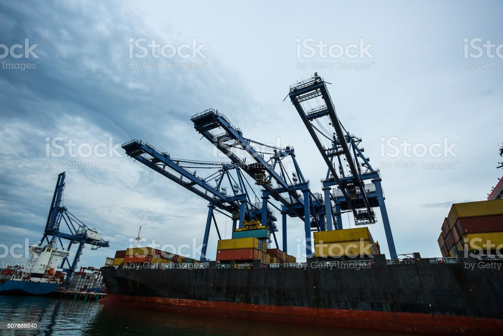 Port container terminal f stock photo