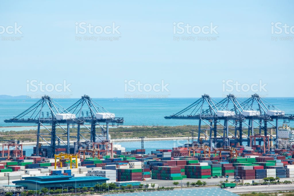 Port container terminal for transporatation stock photo