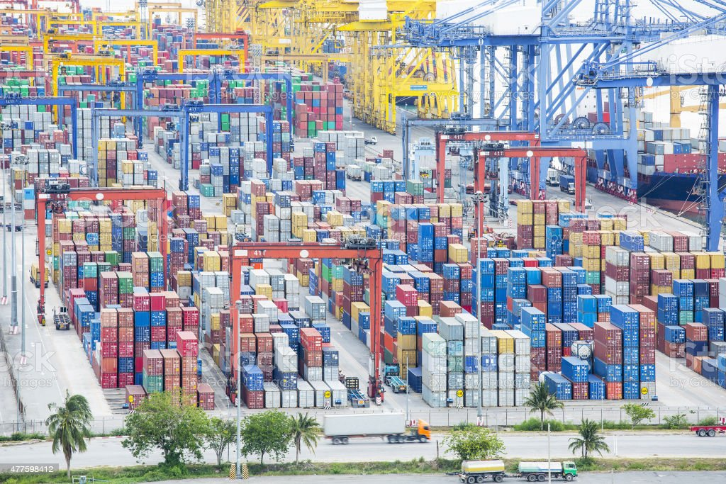 Port container terminal for transporatation your product stock photo