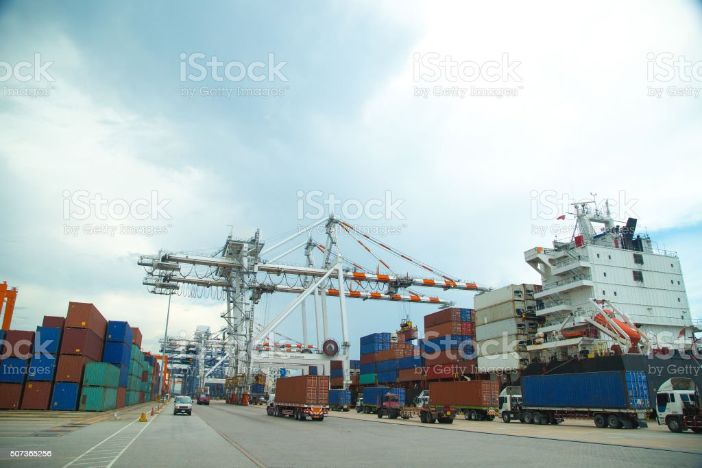 Port container terminal for transportation your product stock photo