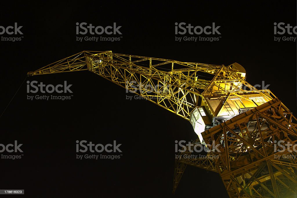 Port crane by night royalty-free stock photo