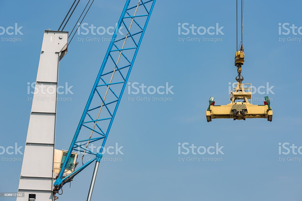 Port crane for transipment of freight containers stock photo