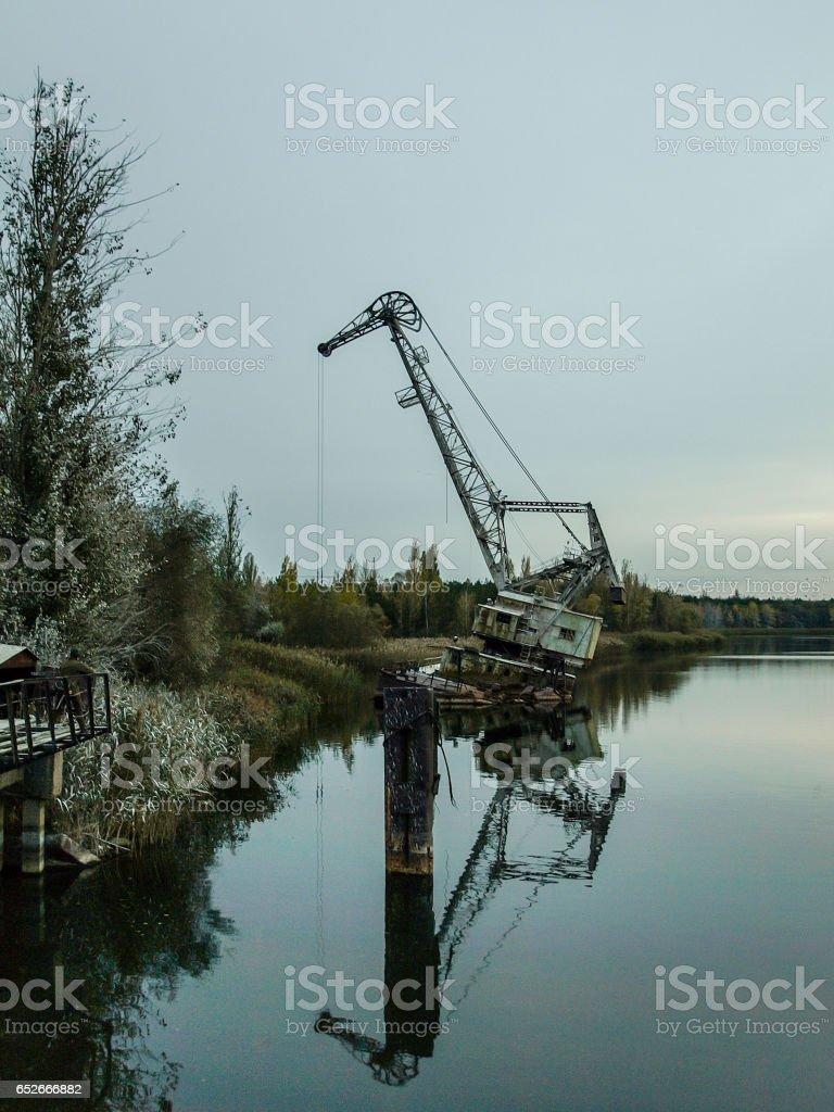 Port crane near Pripyat, Ukraine, 2016 stock photo