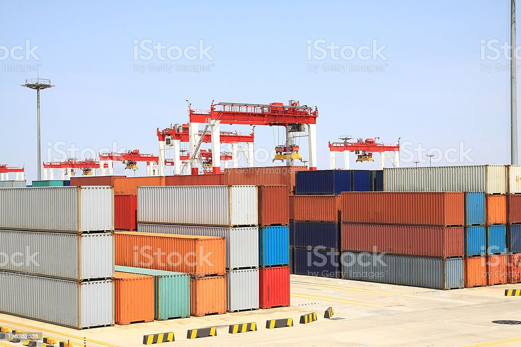 Port cranes and container trade stock photo