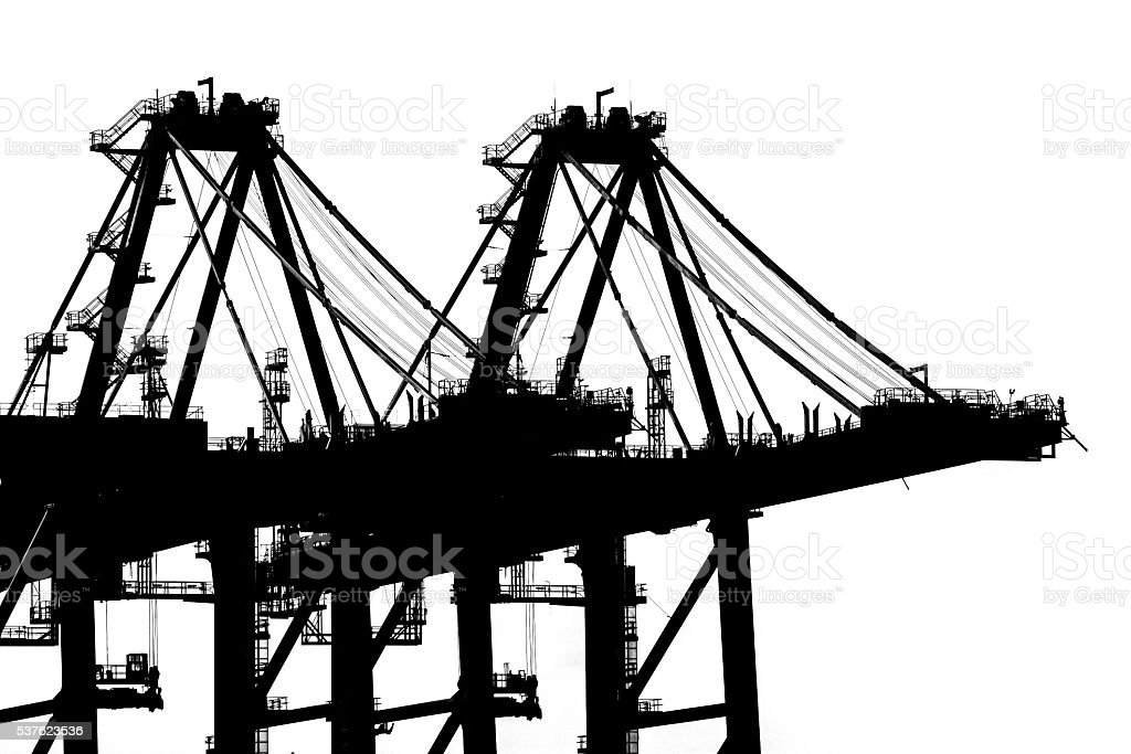 Port cranes working in sea port isolated on white background, stock photo