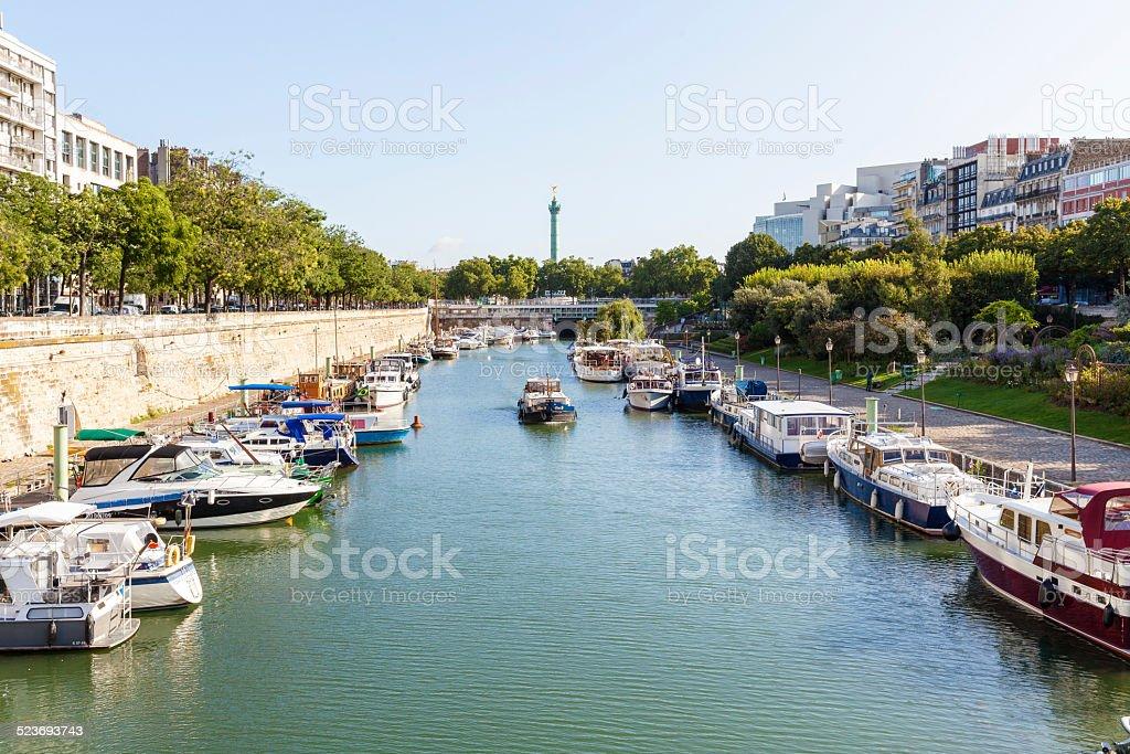 Port de l'Arsenal in Paris stock photo
