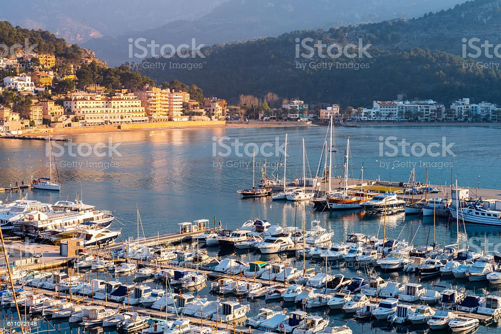 Port de Soller at sunset, Majorca stock photo