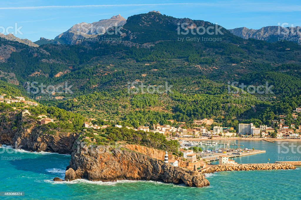 Port de Soller in Mallorca Spain, the harbor of Soller stock photo