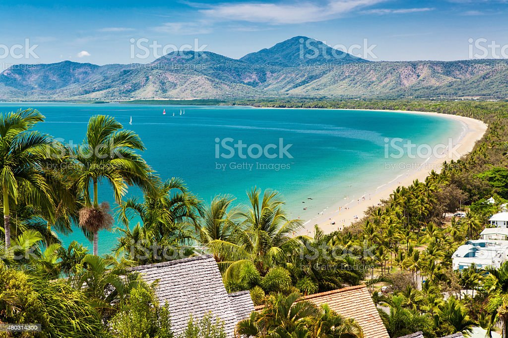 Port Douglas beach and ocean on sunny day, Queensland stock photo