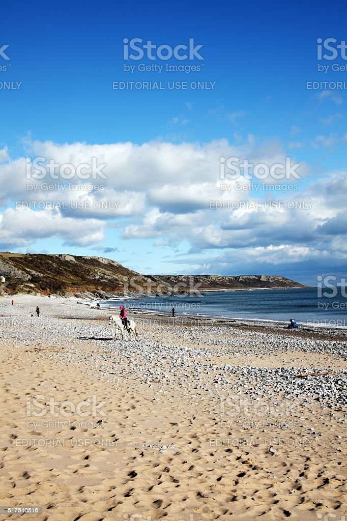 Port Eynon Bay, Gower Peninsular, Wales stock photo