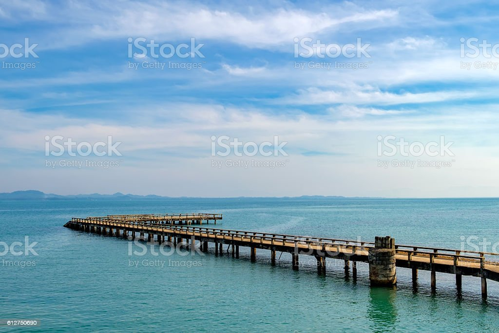 Port ferry boat in Koh Chang Island, Thailand stock photo