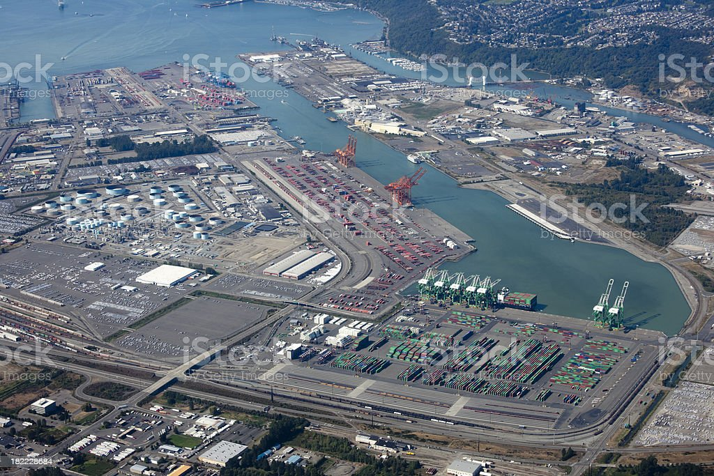 Port Freight Transportation, Aerial View Tacoma Washington USA stock photo
