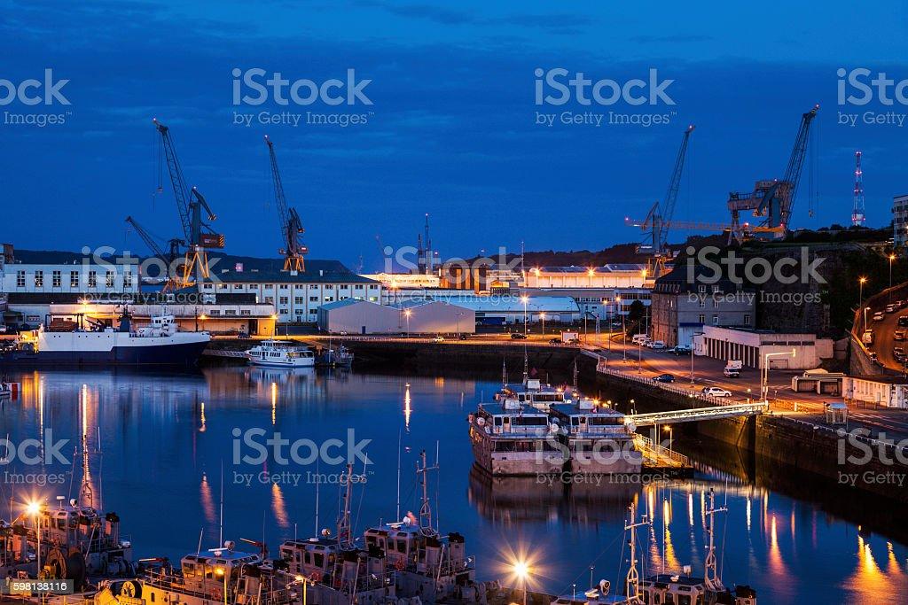 Port in Brest at night stock photo