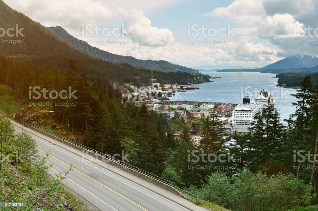 Port in ketchikan port Alaska stock photo