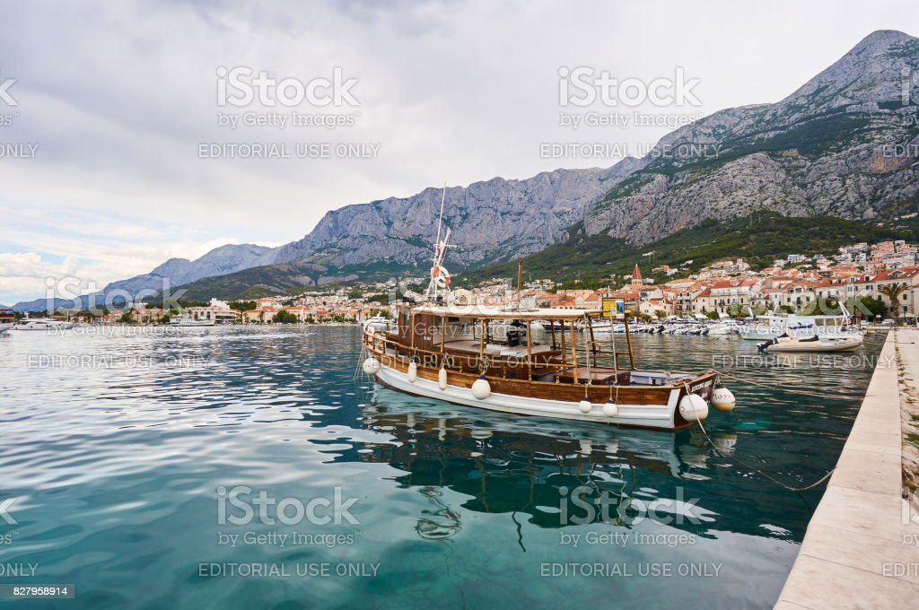 Port in Makarska stock photo