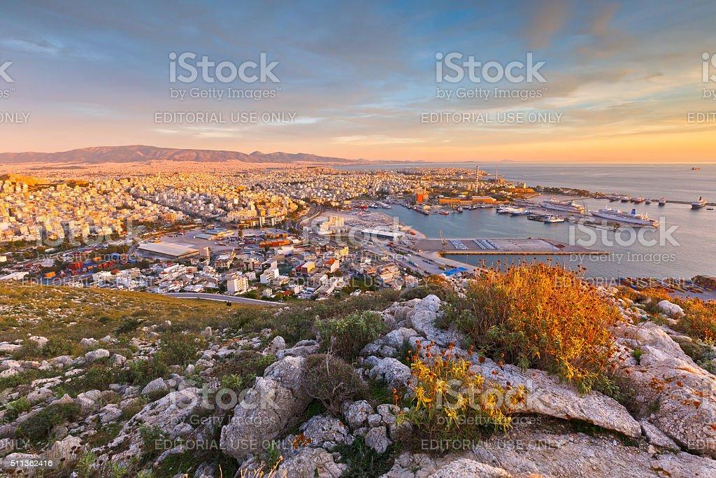 Port in Piraeus. stock photo