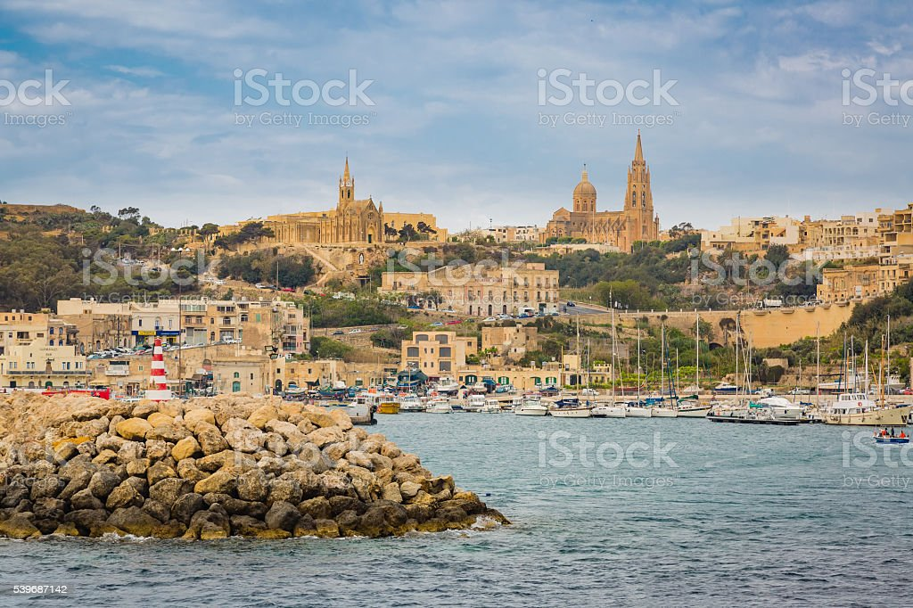 Port in the town of Mgarr in Gozo stock photo