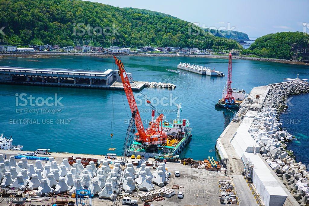 Port in Utoro town at Shiretoko, Japan stock photo