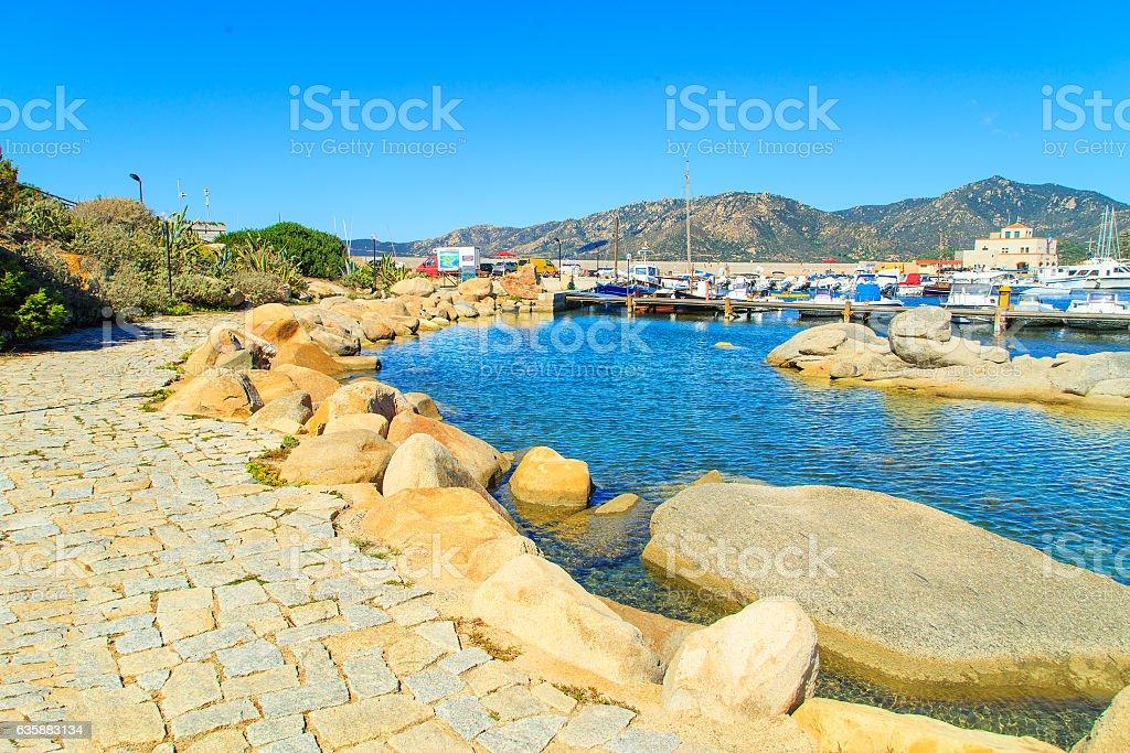 Port in Villiasimius, Sardinia stock photo