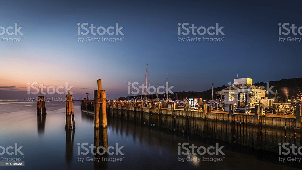 Port Jefferson at dusk stock photo