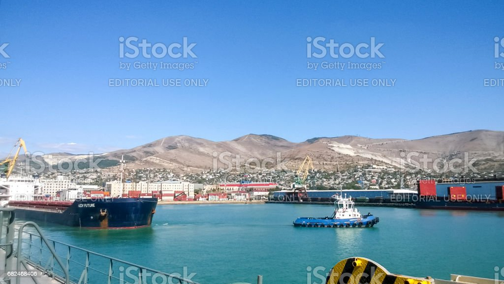 Port landscape. View of the industrial port. The sea, port crane stock photo