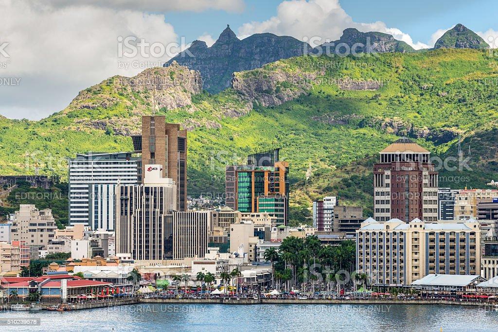 Port Louis cityscape, Mauritius stock photo