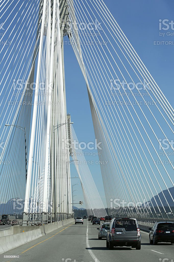 Port Mann Bridge above Fraser River, Surrey, British  Columbia, stock photo