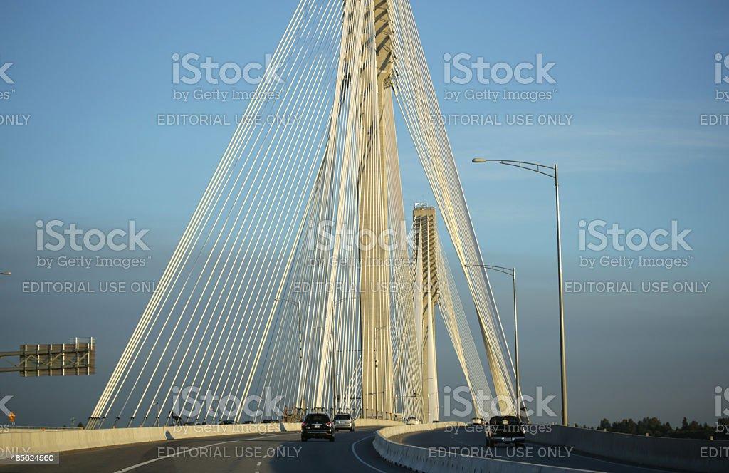 Port Mann Bridge and Highway 1, British Columbia, Canada stock photo
