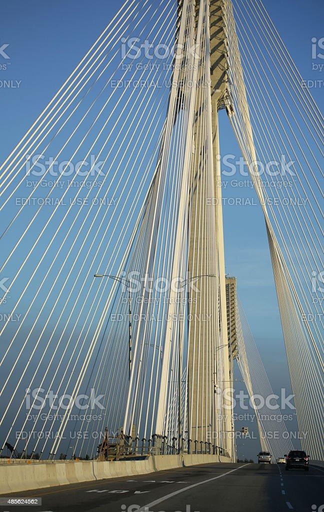 Port Mann Bridge and Highway 1, British Columbia, Canada, Summer stock photo