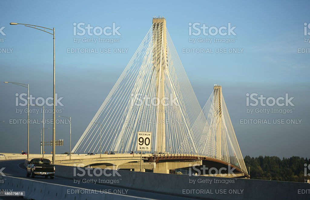 Port Mann Bridge and Trans-Canada Highway, Coquitlam, British Columbia stock photo