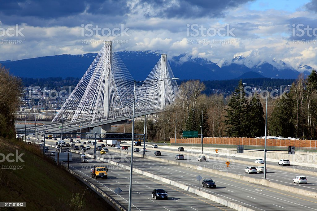 Port Mann Cable-Stayed Bridge British Columbia stock photo