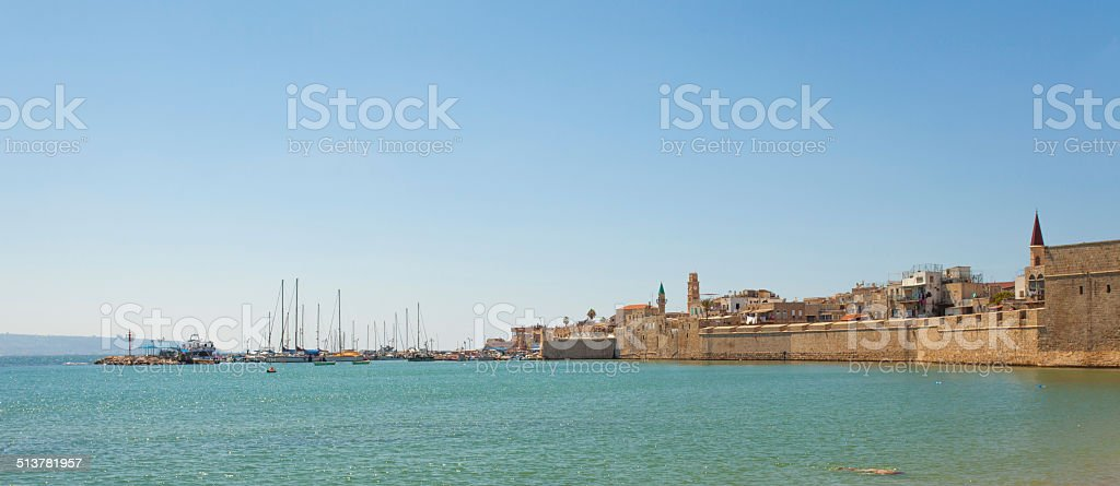 Port of Acre, Israel. with boats and the old city stock photo