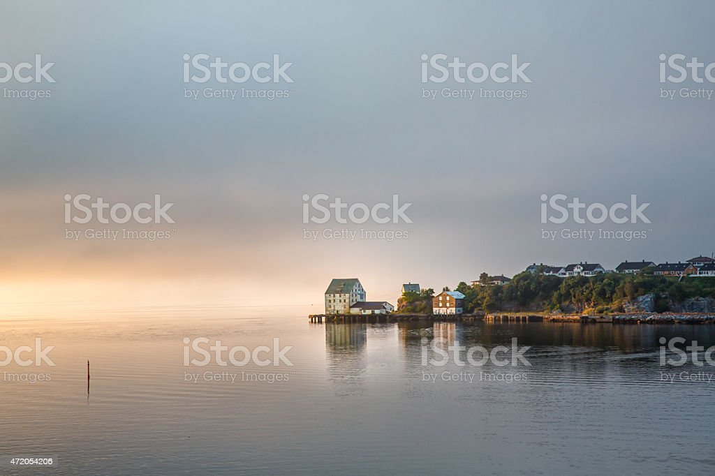 Port of Alesund, Norway on a Foggy Morning stock photo