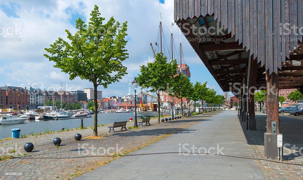 Port of Antwerp in sunlight in summer stock photo
