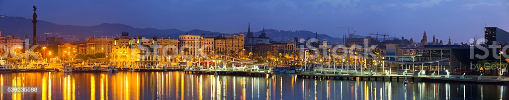 Port of Barcelona in dawn. Catalonia, Spain stock photo