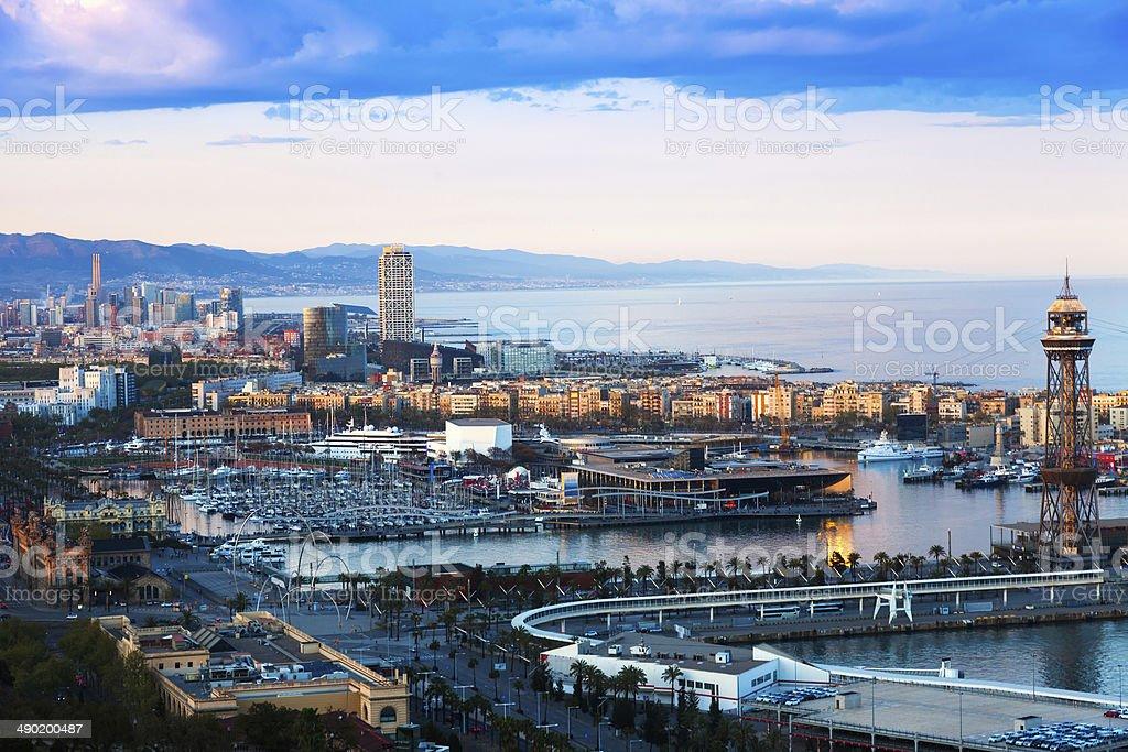 Port of Barcelona in sunny evening stock photo