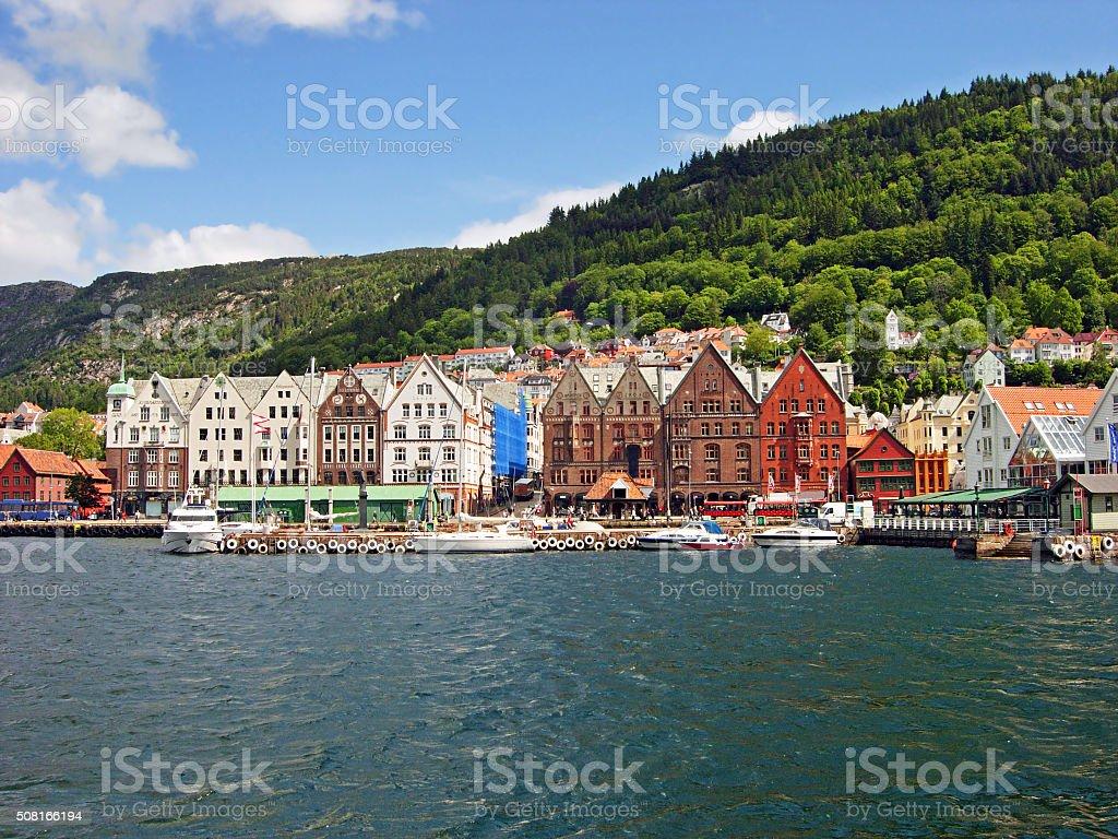 Port of Bergen in Norway stock photo