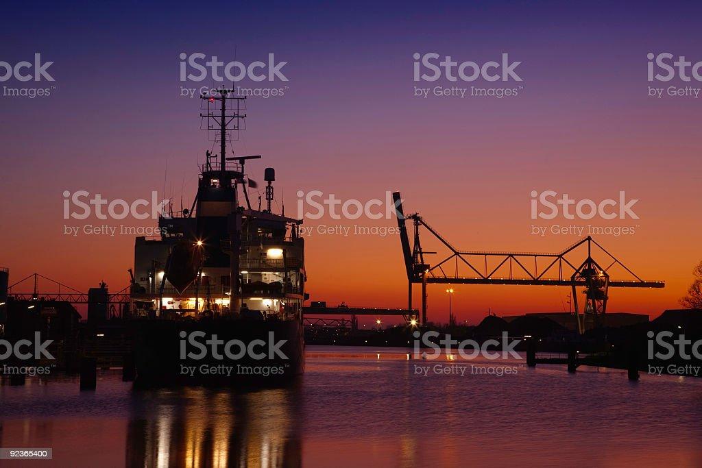 port of Bremen at night royalty-free stock photo