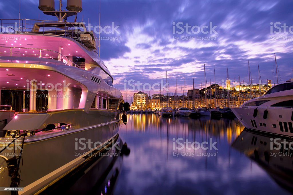 Port of Cannes, France. stock photo