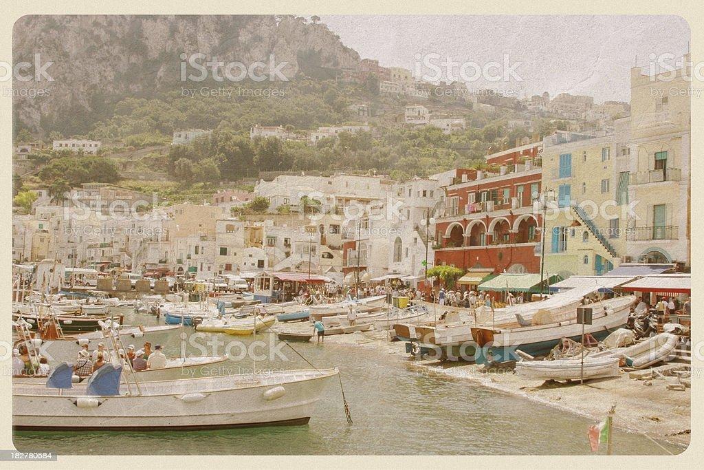 Port of Capri, Italy - VIntage Postcard stock photo