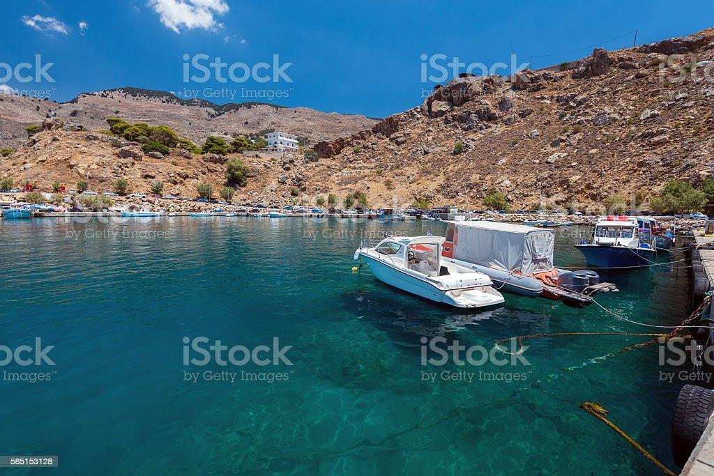 Port of Chora Sfakion town on Crete island stock photo