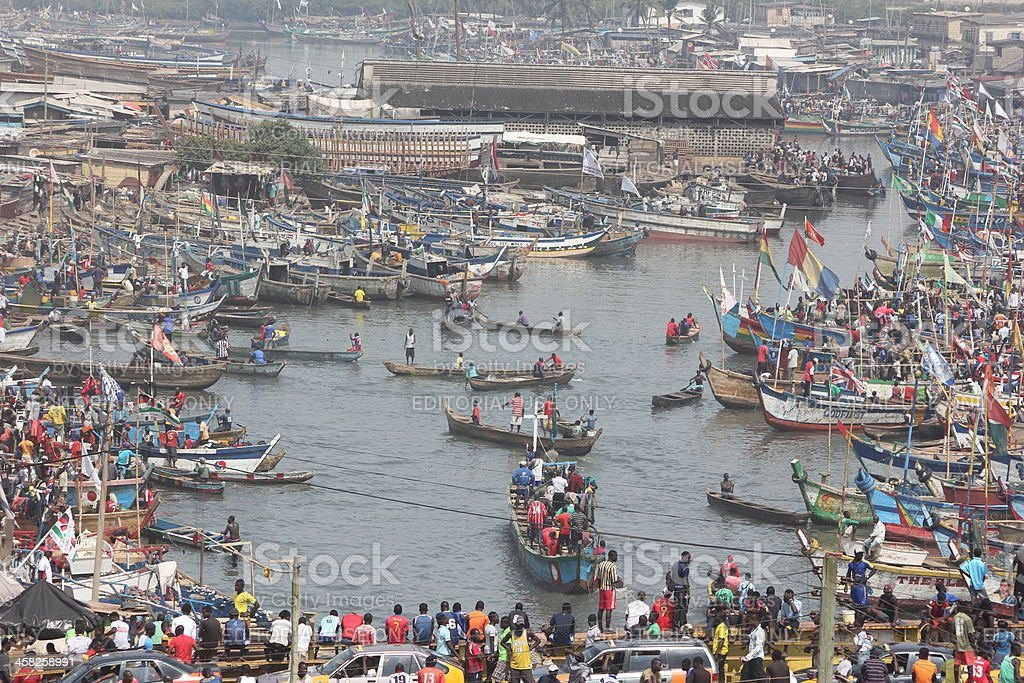 Port of Elmina in Ghana, West Africa royalty-free stock photo