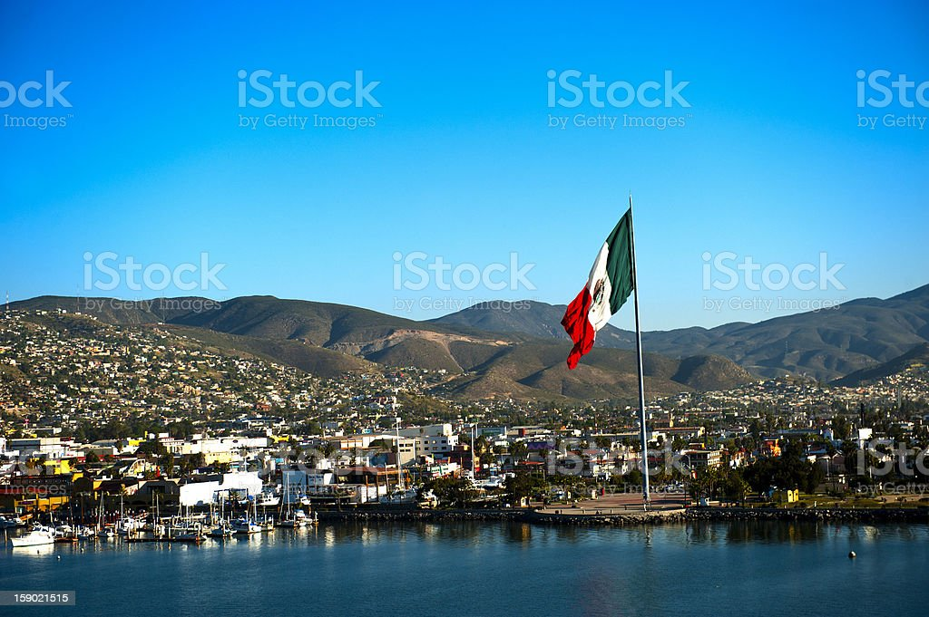 Port of Ensenada and Mexican flag stock photo