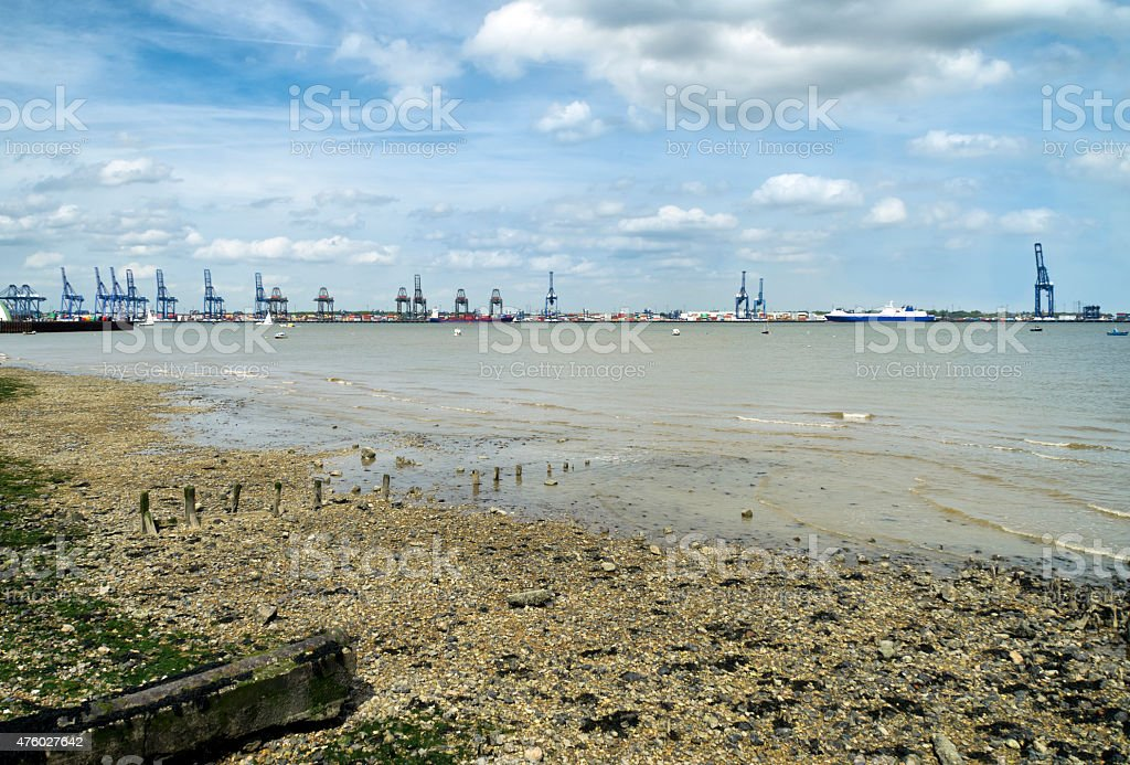 Port of Felixstowe seen from Harwich beach stock photo
